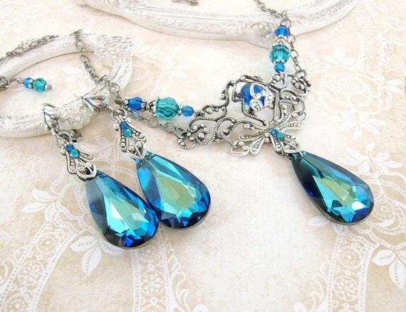 Bermuda Blue Jewelry Set Swarovski Crystal Victorian Jewelry