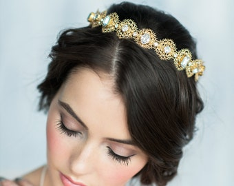 Gold Bridal Crown, Lace Crown, Crystal Headpiece, Bridal Hair Piece, Modern Tiara, Crystal Tiara, Wedding Crown, Bridal Headband, ELENORA