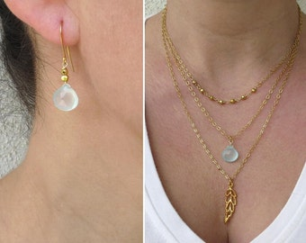 Gold layered necklace set, Triple strand necklace, Aqua chalcedony earrings
