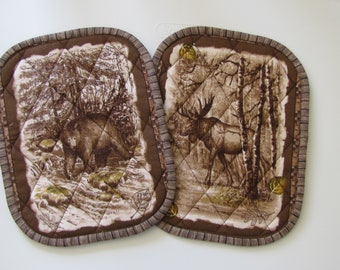 Bear and moose potholders - set of 2