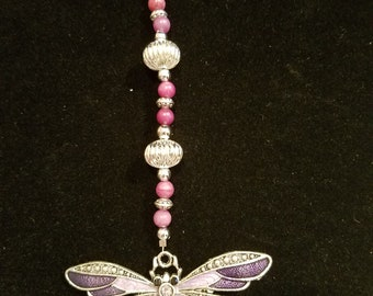 Purple and silver dragonfly keychain