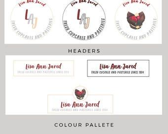 Branding kit, business card, premade branding kit, premade logo, premade blog logo, food logo, bakery logo, full branding kit, cafe logo