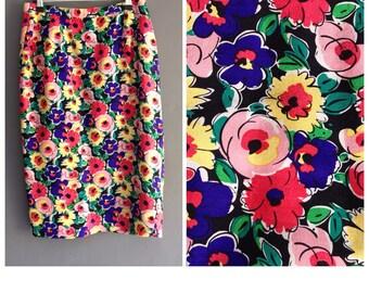 Bright floral silk pencil skirt
