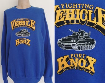 1980's Unisex Blue Fort Knox Sweatshirt Vintage Army Pullover Sweater Size XL XXL by Maeberry Vintage