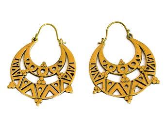 Tribal Hoop Earrings, Gypsy Earrings, Aztec Earrings, Brass Earrings, Tribal Earrings, Ethnic Earrings, Boho Earrings, Mexican Jewelry