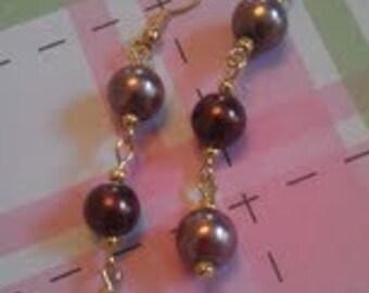 Three Bead Dangle Earrings. Cascading Bead Earrings.
