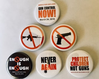 March for Our Lives on March 24, 2018 button collectors set of 6 (GNCON-701-ALL)