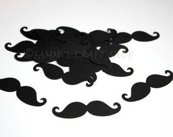 Mustache Baby Shower Decorations, Black Mustache Confetti, Oh Boy Baby Bash, Little Man Mustache First Birthday Party Supplies (50 Ct)