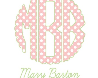 Polka Dot Monogram Enclosure Cards For Girls