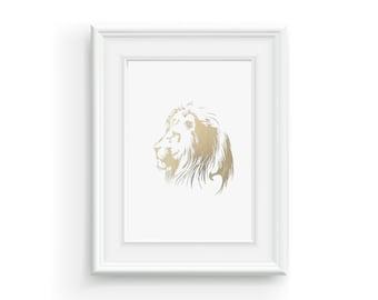 LION, gold leaf foil art.