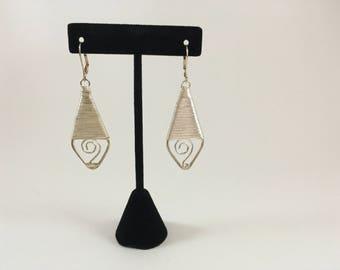 Silver medal drop Earrings