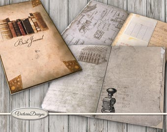 Book Journal Kit Printable Library Journal DIY junk journal crafting paper craft instant download digital collage sheet - VDJOVI1555