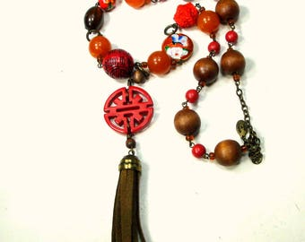 SALE, Chinese Bead & Happiness Necklace by Robert Rose, Linked Red Beads w Leather Tassel, Cinnabar, Cloisonne RED