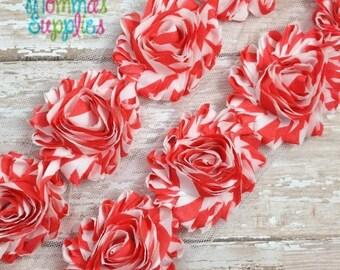 ON SALE Coral Chevron Shabby Rose Trim - 1 Yard - Shabby Flower - Baby Headbands, Scrapbooking, DIY, Chiffon Trim, Wholesale Flowers, Suppli