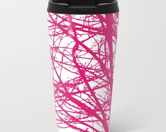 Pink and White Branches Metal Travel Mug - Modern Tree branches Stainless Steel Travel Mug With Lid - Gift For Women - Aldari Home