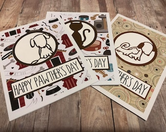 Handmade Happy Pawther's Day Greeting Card; Doggy Dad Father's Day Card; Cat Dad Father's Day Card; AnimalDad Father's Day Card