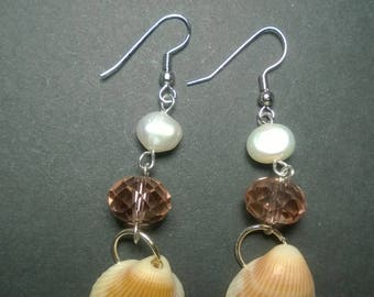 Fresh Water Pearl and Clam Shell Earrings