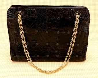 Vintage Lesco Lona alligator handbag - dark brown alligator with gold metal chain straps - Crazygator