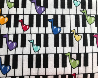 FLANNEL - Musical Notes Fabric - Musical Notes Flannel - Piano Key Fabric - Colorful Notes Fabric - Melody Fabric