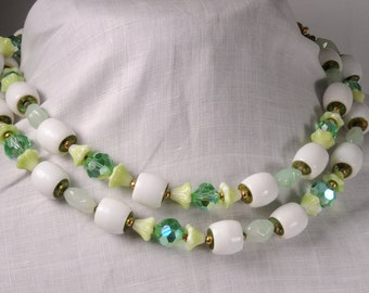 Vintage Green And White Czech Two Strand Necklace 136