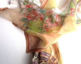 hand painted silk scarf Bird in the summer garden-inspiration in nature-bird,blossom,summer,original artwork-nature colors,soft tones