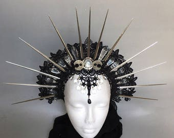Halo of Moon Goddess  - Gothic headpiece - headpiece with spikes - pagan headpiece - tribal headpiece - witches headpiece