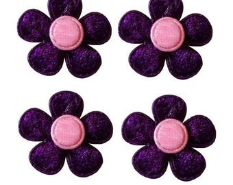 SET OF 10 SMALL FLOWERS VIOLET PURPLE VELVET FABRIC APPLIQUE