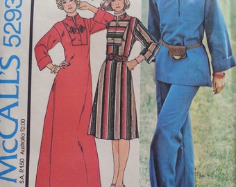 Hipster Caftan Dress Top and Pant Pattern Mccalls 5293 Misses Size 14 Bust 36