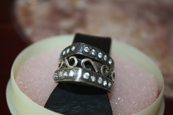 RINGS Set of 3 stackable rings in sterling silver 925 with zirconians, hand made.