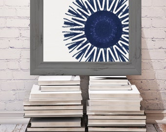 Indigo Starburst Print 8x10 or 11x14 tribal
