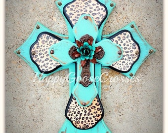 Wall Cross - Wood Cross - Medium - Antiqued turquoise, with leopard/cheetah print, topped with iron cross and iron turquoise rose