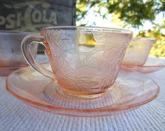 Vintage Depression Glass Pink Dogwood MacBeth Evans Cup and Saucers Cereal Bowl