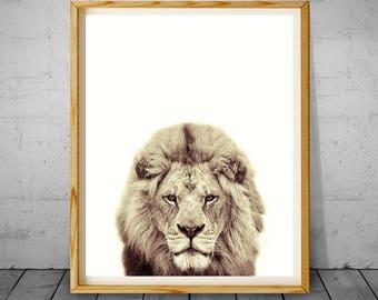 Lion Print, Woodlands Nursery Art, Lion Wall Art, Safari Animal Print, Printable Nursery Decor, Lion Art Poster, Nursery Wall Art, Lion Art