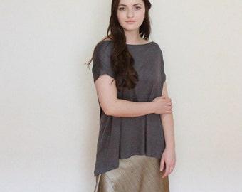 Dark gray short sleeve throw & go blouse