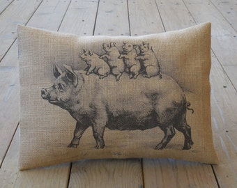 Piglets Burlap Decorative Pillow, Shabby Chic, Pigs, Farm13, Farmhouse Pillows, INSERT INCLUDED