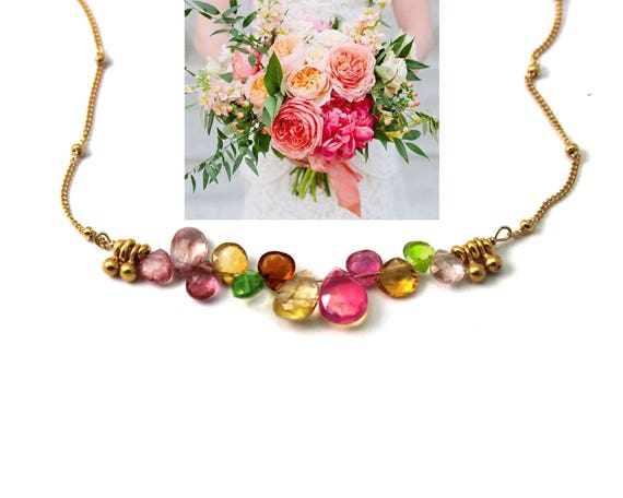 Bridesmaid Gift. Wedding Color Match Service. Multi Gemstone Bar Necklace.  Spinel, Citrine, Peridot, & Topaz. N2399.