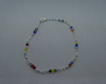 Silver bracelet with colorful glass stones