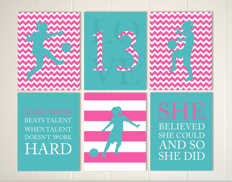 Children sports art girls room art soccer art soccer girl