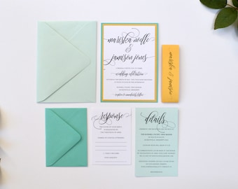 Aqua Wedding Invitations, Teal and Gold, Wedding Invitations, Teal, Aquamarine, Gold, Modern, Calligraphy Wedding Invitations, S022-Mariska