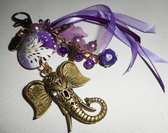 Door keys/jewelry bag purple elephant with beads and ribbons