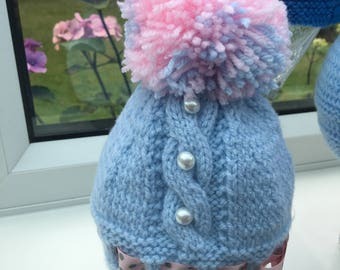 Hand Knitted Blue Pearl and Pom Pom Baby Hat 0-3m