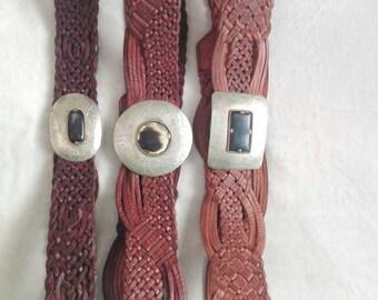 Braided leather belt.