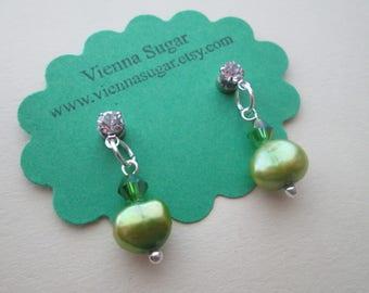 8 mm Green Genuine Freshwater Pearl Magnetic Earrings No Pierce Clip On Earrings or Pierced Hypoallergenic Plastic Post