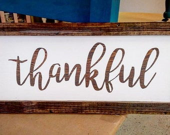 Thankful Framed Wood Wall Home Decor Sign