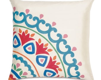 """Hand Painted Suzani on Ivory Silk Decorative Pillow Cover 20"""" x 20"""""""