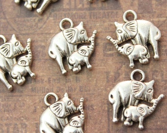 10 Mom and Baby Elephant Charms Antiqued Silver Tone Double Sided  13 x 13 mm
