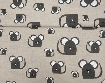 Linen/Cotton Fabric Mouses,Linen Printed Fabric, 1,5 meter