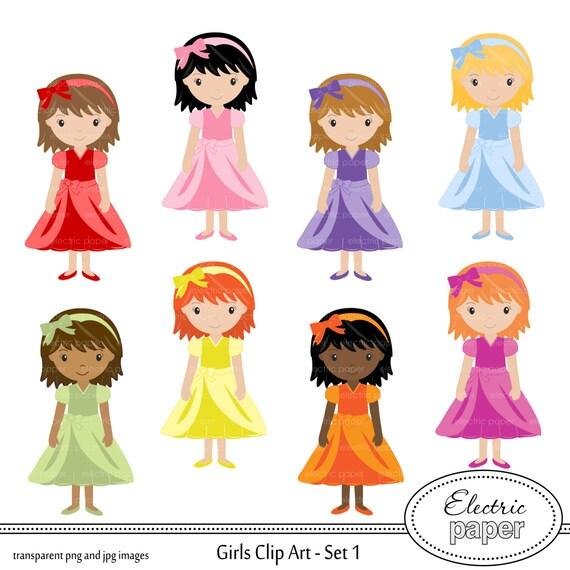 Items similar to Girl Clip Art - Cute Girl in Dress ...