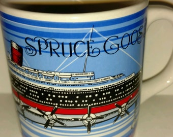 Queen Mary Ship Liner Spruce Goose Plane Coffee Mug