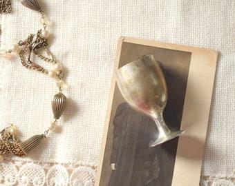 Silver Plated Aperitif Glass, Small Cordial Stemware Stamped Leonard